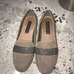 Blush Suede Loafer With Rhinestones